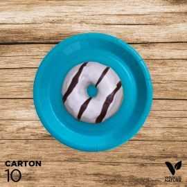 10 Assiettes turquoise carton 100% biodégradables 18 cm