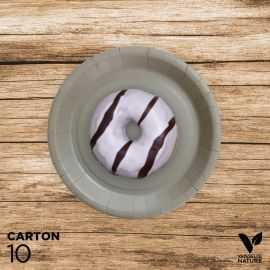 10 Assiettes grises carton 100% biodégradables 18 cm