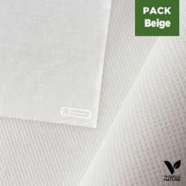 Pack nappe blanche 25m + 40 Serviettes beige tissu-ouate 40 x 40 cm