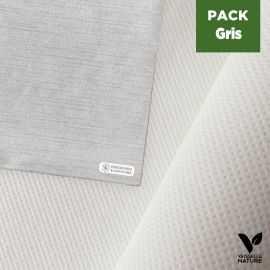 Pack nappe blanche 25m + 40 Serviettes anthracite tissu-ouate 40 x 40 cm