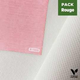 Pack nappe blanche 25m + 40 Serviettes rouges tissu-ouate 40 x 40 cm
