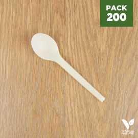 Pack 200 petites cuillères Amidon de maïs Biodégradables - Compostables. 12 cm.