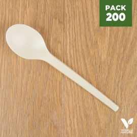 Pack 200 Grandes cuillèes Amidon de maïs Biodégradables - Compostables. 16 cm.