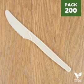 Pack 200 Couteaux Amidon de maïs Biodégradables - Compostables. 16 cm.