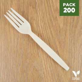 Pack 200 Fourchettes Amidon de maïs Biodégradables - Compostables. 16 cm.