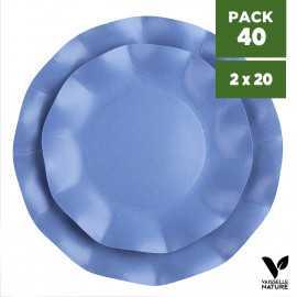 Pack 40 Assiettes biodégradables bleues 21-27cm. Carton. Compostables.