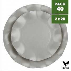 Pack 40 Assiettes biodégradables grises 21-27cm. Carton. Compostables.