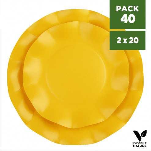Pack 40 Assiettes biodégradables jaunes 21-27cm. Carton. Compostables.