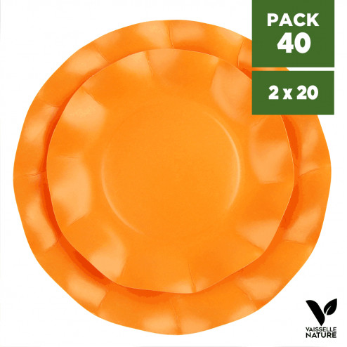 Pack 40 Assiettes biodégradables orange 21-27cm. Carton. Compostables.