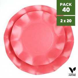 Pack 40 Assiettes biodégradables rouges 21-27cm. Carton. Compostables.