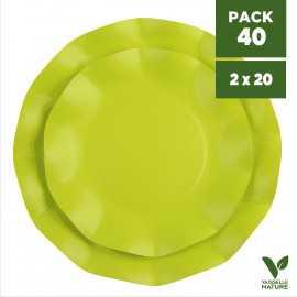 Pack 40 Assiettes biodégradables vertes 21-27cm. Carton. Compostables.