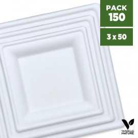 Pack 150 assiettes carrées 16-20-26cm Fibres végétales. Biodégradables et compostables.