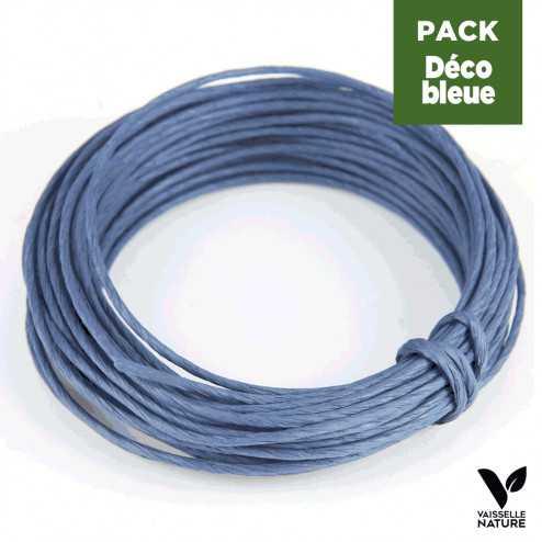 Pack 3 attaches Corde en papier laitonné Camaieu de Bleus
