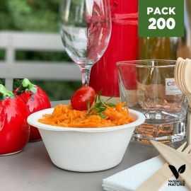 Pack 200 Coupelles apéritives fibres végétales biodégradables et compostables