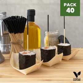 Pack 40 Verrines bois 7cm Biodégradables - Compostables