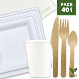 Pack 40 Personnes Blanc premium 100% Biodégradable