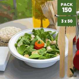 Pack 50 Bols-Salades + Couverts bois. Biodégradables - compostables